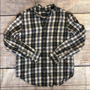 Eddie Bauer S Flannel Shirt Cotton Cream Plaid